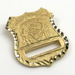 14k Yellow Gold Solid Diamond Cut Police Badge