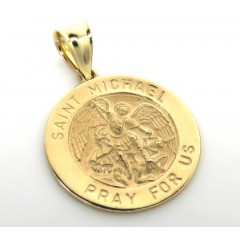 14k Yellow Gold Small Saint Michael Pray For Us Coin Pendant