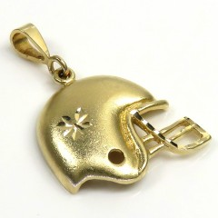 14k Yellow Gold Solid Diamond Cut Foot-ball Helmet Pendant