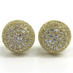 10k Yellow Gold 8.8mm Cz Sphere Earrings 1.00ct