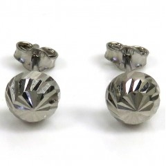 10k White Gold Diamond Cut 6mm Sphere Earrings
