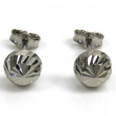 10k White Gold Diamond Cut 6mm Sphere Earrings