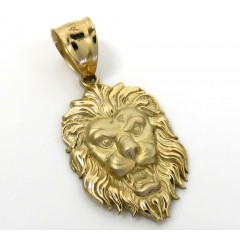 10k Yellow Gold Small Solid Lion Head Pendant
