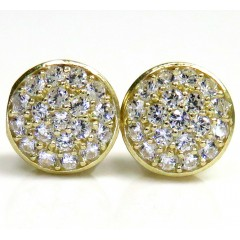 10k Yellow Gold Cz Snow Cap 8.2mm Earrings 1.00ct