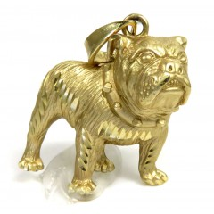 14K Yellow Gold Diamond Cut Bull Dog Pendant