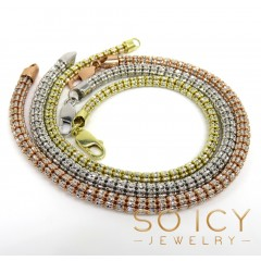 10k Two Tone Gold Diamond Cut Ice Link Bracelet 8