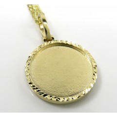 10k Yellow Gold Diamond Cut Double Sided Medium Picture Pendant