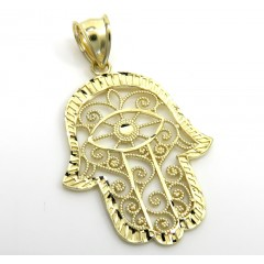 10k Yellow Gold Medium Fancy Hamsa Pendant