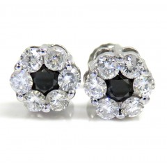 14k Gold Black & White Diamond Cluster Earrings 1.00ct