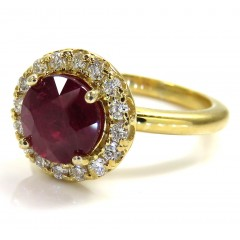 14k Gold Round Diamond & Ruby Halo Semi Mount Ring 1.70ct