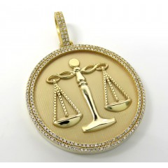 10k Gold Two Row Diamond Libra Scale Pendant 1.50ct