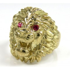 10k Yellow Gold Cz Lion Ring 0.10ct