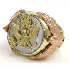 14K Tri Color Gold American Eagle Ring