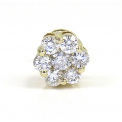 14k Yellow Gold 7mm Diamond Single Cluster Earring 0.50ct