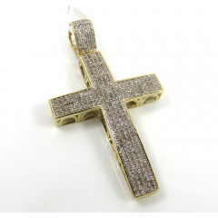 10K Yellow Gold 4 Row Diamond Cross Pendant 0.89CT