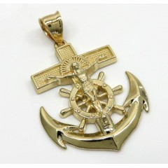 14K Yellow Gold Medium Anchor Jesus Pendant
