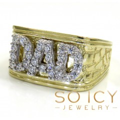 10k Yellow Gold Nugget Cz Dad Ring 1.00ct