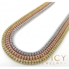 10k Two Tone Gold Diamond Cut Ice Link Chain 18-26