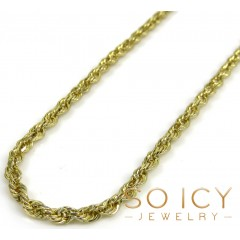 10k Yellow Gold Solid Rope Chain 16-24 Inch 2mm