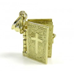 10k Yellow Gold Mini Holy Bible Book Pendant