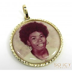 10k Yellow Gold Large Double Sided Picture Pendant
