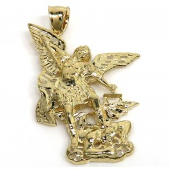14k Yellow Gold Small Angel Vs Demon Saint Michael's Pendant