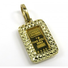 10k Yellow Gold Diamond Cut Frame With Suisse 24k Gold Mini Bar Pendant