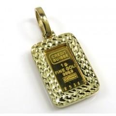 10k Yellow Gold Diamond Cut Frame With Suisse 24k Gold Mini Bar Pendant