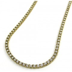 14k Gold Round 3 Pointer Diamond Illusion Tennis Chain 3.40mm 5.00ct 16-26'