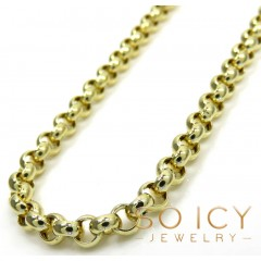 14k Yellow Gold Circle Rolo Link Chain 16-30 Inch 3.6mm