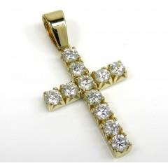 14k Gold Round 15 Pointer Diamond Cross 1.65ct
