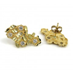 10k Yellow Gold Diamond Cut Medium Cz Nugget Earrings 0.40ct