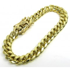 10k Yellow Gold Thick Miami Bracelet 8 Inch 9mm