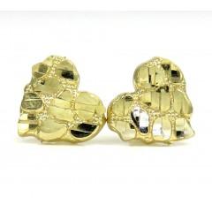 10k Yellow Gold Mini Heart Nugget Earrings