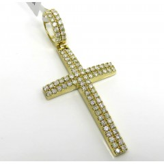 10k Yellow Gold 2x2 Solid Full Cut Diamond Cross 2.47ct