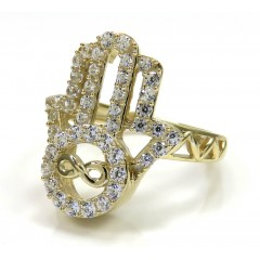 10K Yellow Gold Cz Hamsa Ring 2.20CT