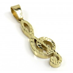 14K Gold Diamond Cut Music Note Pendant