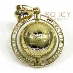 10k Yellow Gold The World Is Yours Spinning Globe Medium Pendant