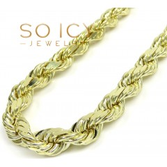 14k Yellow Gold Solid Diamond Cut Rope Chain 22-26 Inch 8mm