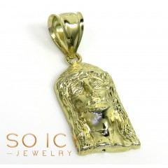 10k Yellow Gold Mini Solid Back Classic Jesus Face Pendant