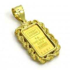 14k Yellow Gold Rope Frame With Suisse 24k Gold Mini Bar Pendant