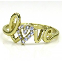 10k Gold Diamond Heart Love Ring 0.12ct