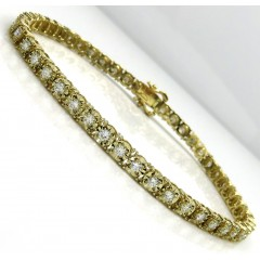14k Yellow Gold Round 7 Pointer Diamond Illusion Tennis Bracelet 4.40mm 3.00ct