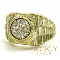 10k Yellow Gold Small Presidential Style Cz Ring 0.50ct