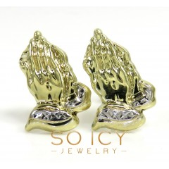 10k Yellow Gold Mini Praying Hand Earrings