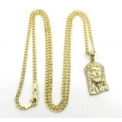 10k Yellow Gold Small Classic Jesus Pendant With 18-24 Inch 2.50mm Cuban Chain