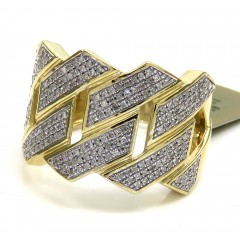 10k Yellow Gold Solid Diamond Xl 16mm Cuban Ring 0.56ct