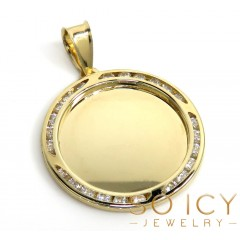 10k Yellow Gold Small Cz Picture Pendant 0.50ct