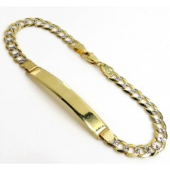 14k Yellow Gold Diamond Cut Cuban Id Bracelet 8 Inch 5.50mm