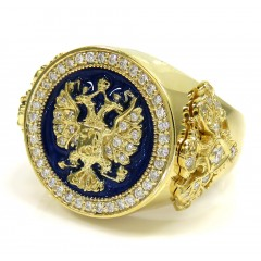 14k Gold Blue Enamel Diamond Russian Eagle Ring 1.75ct